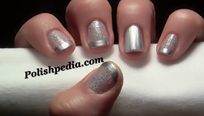 Baby Pink Nails With Silver Glitter Reverse French Tip Nail Art