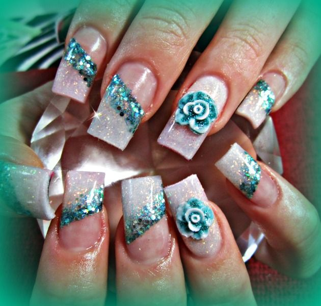 51 very beautiful 3d flowers nail art designs green 3d flowers nail design prinsesfo Images