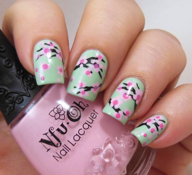 Green nails with pink flowers nail art prinsesfo Gallery
