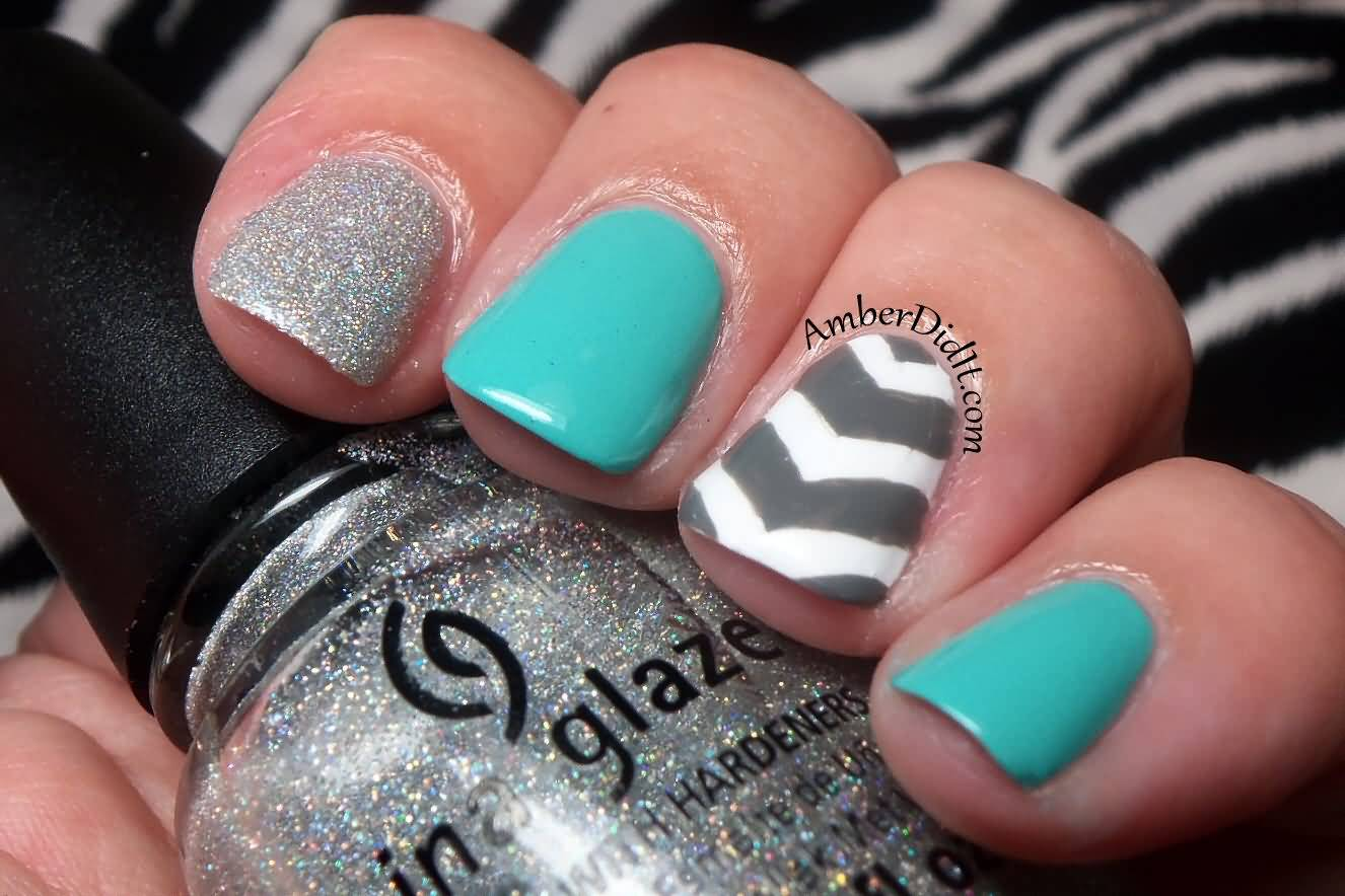 Neon Chevron Nail Art Design