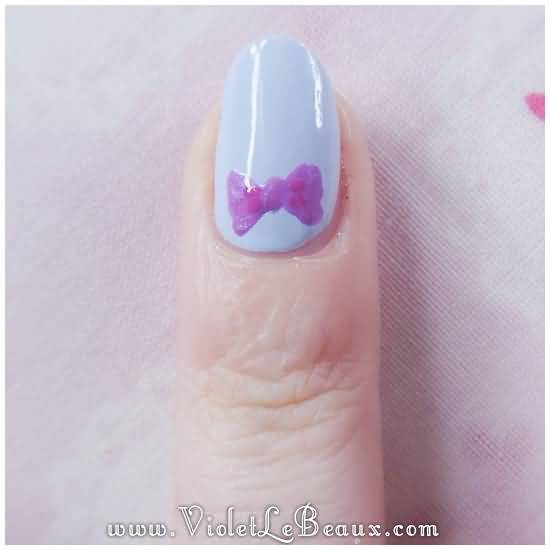 Simple Grey Nail Art: 40+ Stylish And Simple Bow Nail Art Design Ideas