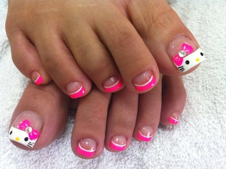 15 most beautiful bow toe nail art design ideas hello kitty bow toe nail art design prinsesfo Images