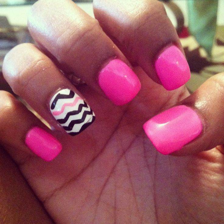 Pink White And Black Nail Designs