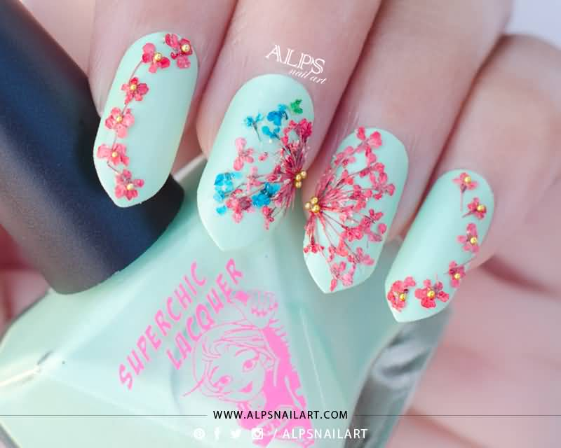 Dry Dried Flower Nail Art Decoration Diy Design Beautiful Colorful