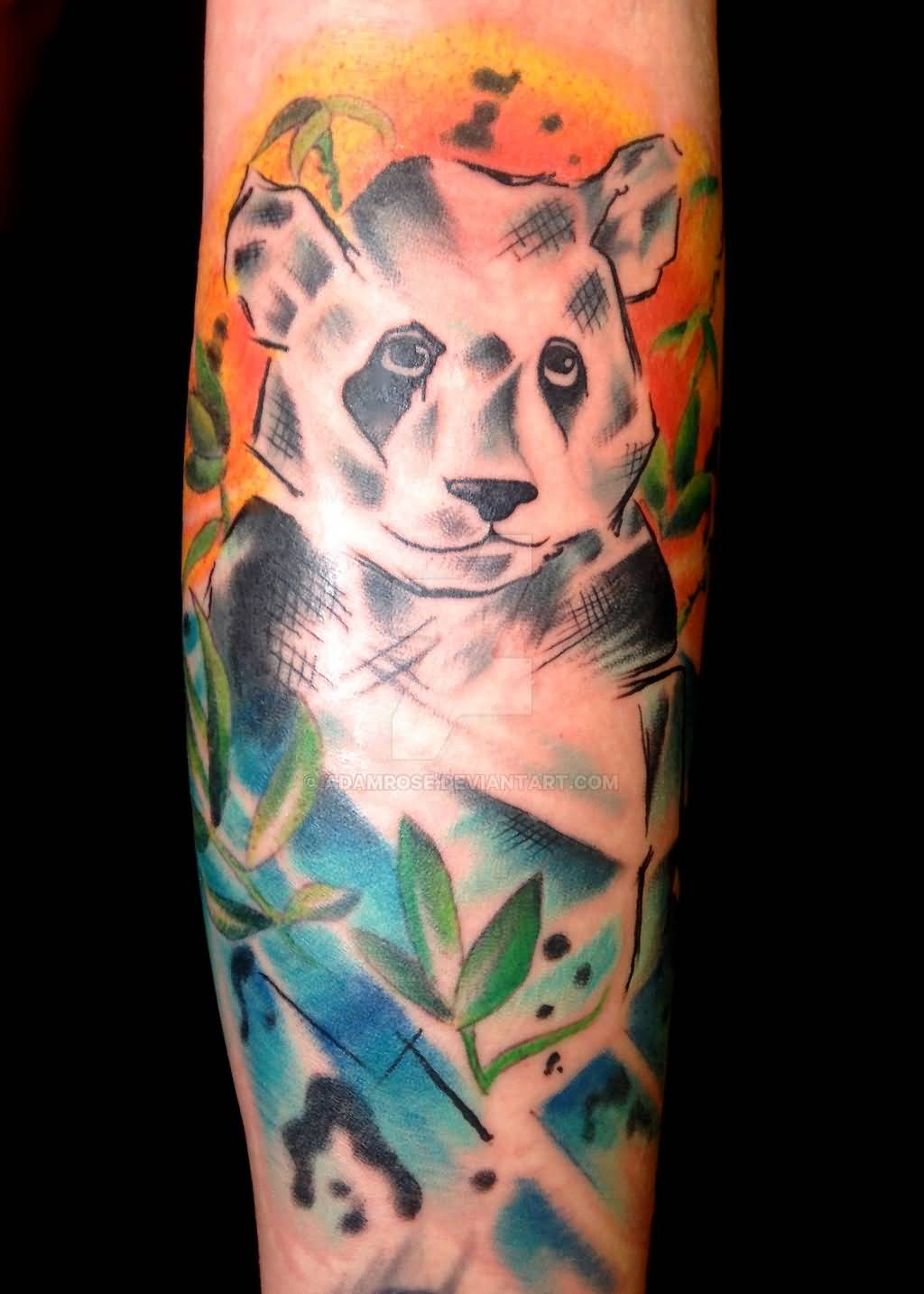 abstract animals with panda watercolor tattoo on back. Black Bedroom Furniture Sets. Home Design Ideas