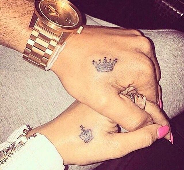 ec4ac7dcd King And Queen Crown Matching Tattoos On Couple Wrist