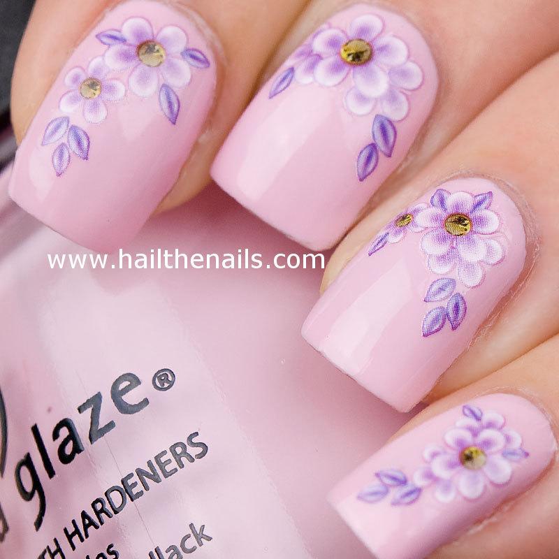 Lilac Daisy Flower Nail Art Design - 55+ Most Stylish Flower Nail Art Design Ideas