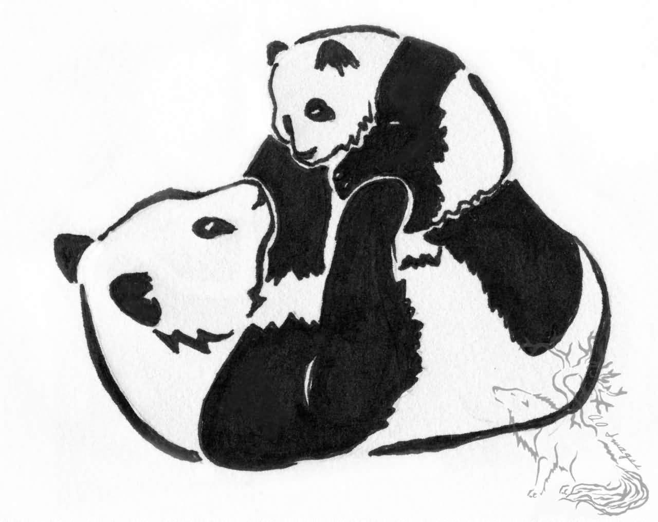 Coloring pages baby panda - Mother Panda Playing With Baby Bear Tattoo Design