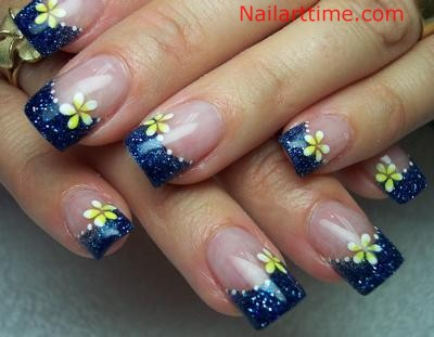French Tip Nail Designs With Flowers