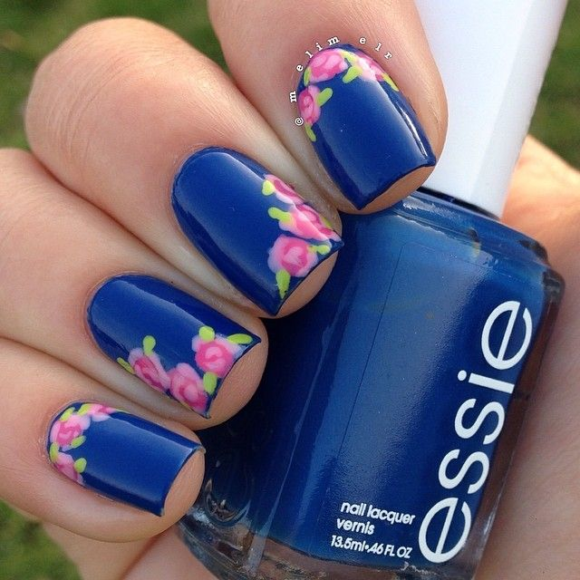 Navy Blue Nails With Pink Flowers Nail Art