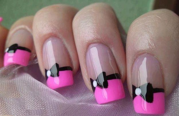 40 stylish and simple bow nail art design ideas neon pink french tip with black simple bow nail art prinsesfo Image collections