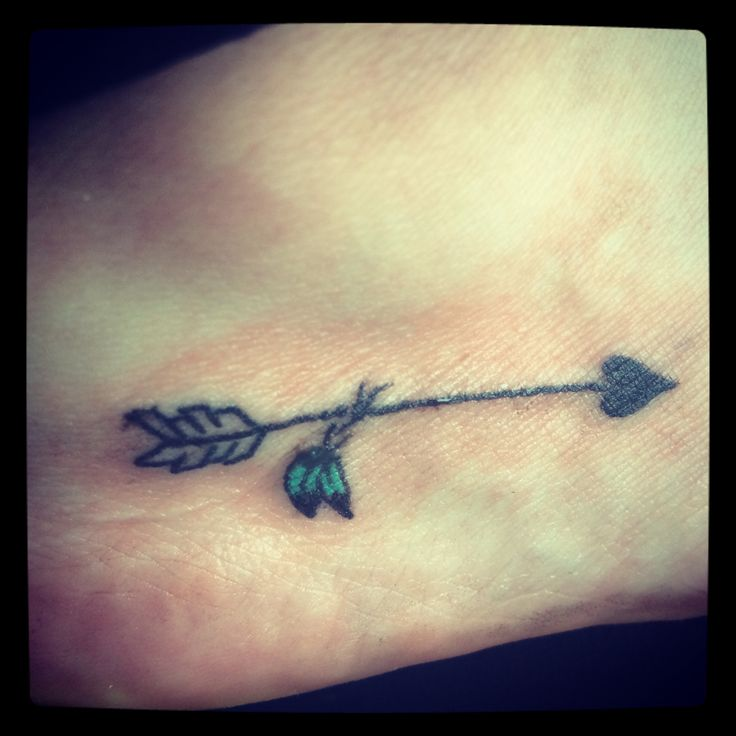 ae21ab35d Nice Arrow With Heart Headed And With Leafs Tattoo On Foot