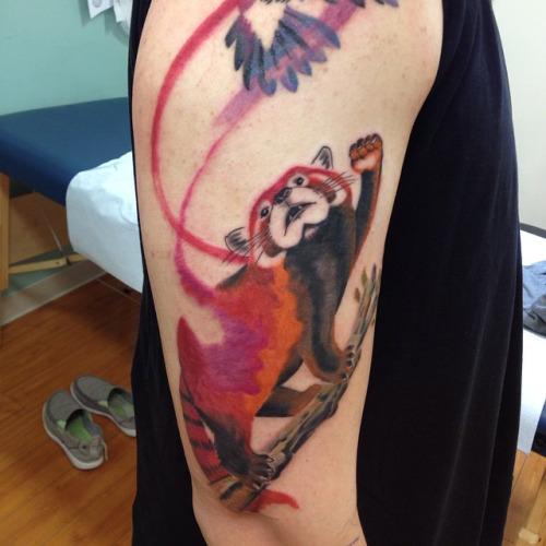 Bird Half Sleeves Watercolor Tattoo With Flowers: 34+ Watercolor Panda Tattoos
