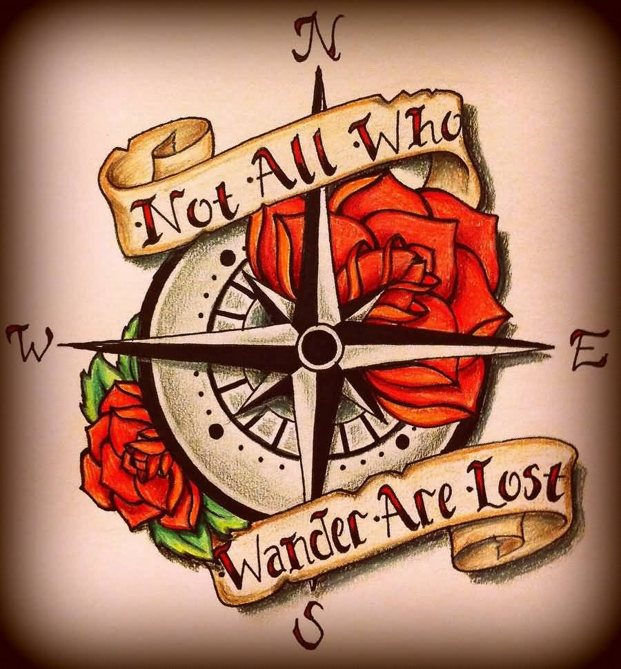 437906bc8 Not All Who Wander Are Lost Banner With Compass Tattoo Design by Carlvr