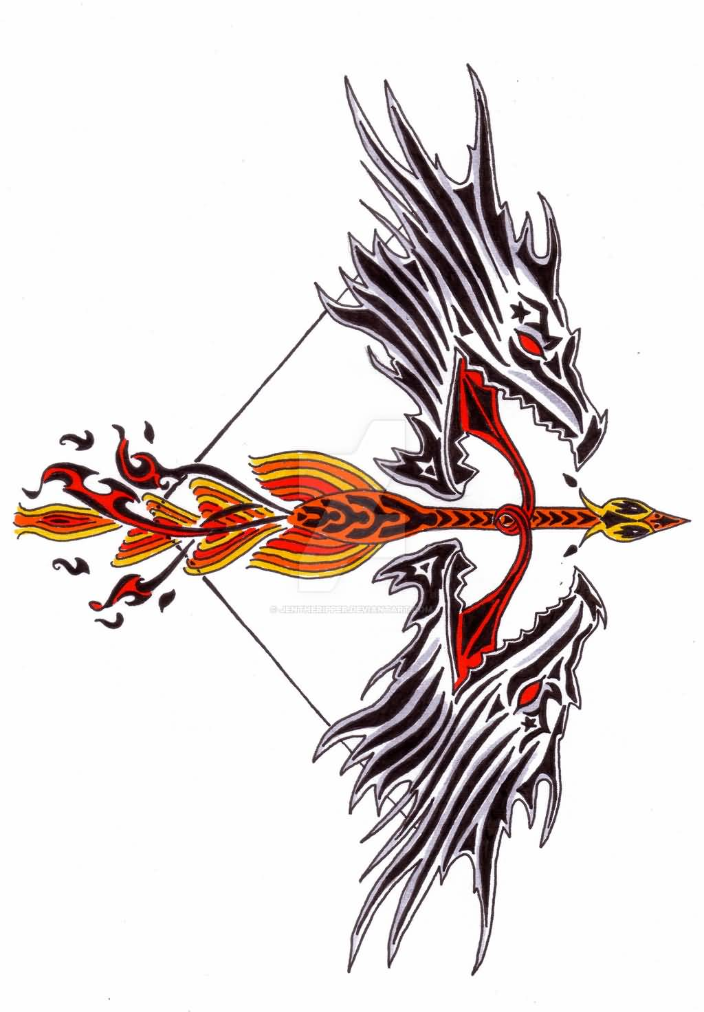 Outstanding Tribal Bow And Arrow Tattoo Design By Jentheripper