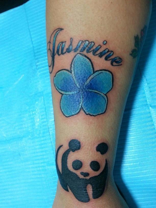 panda with blue jasmine flower tattoo on forearm. Black Bedroom Furniture Sets. Home Design Ideas