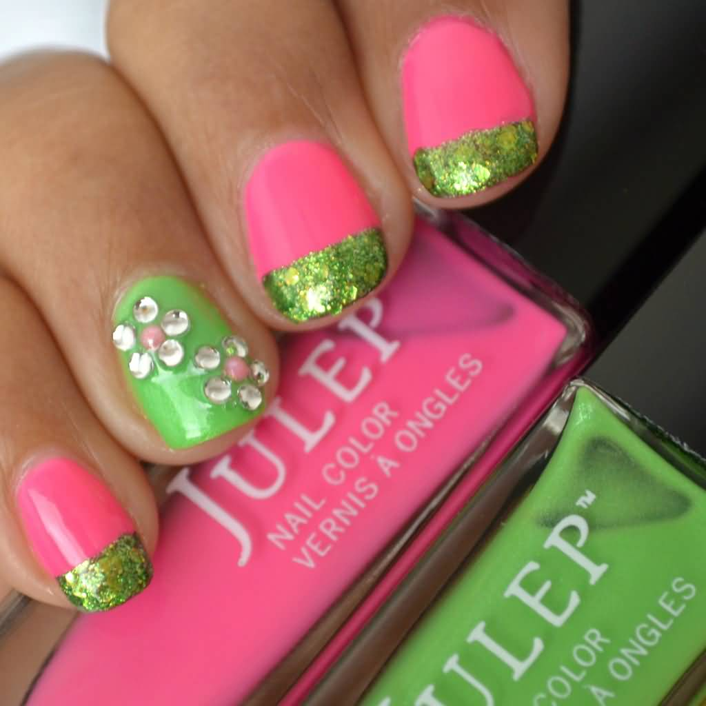 - Pink And Green Nails With Accent Rhinestones Flower Nail Art