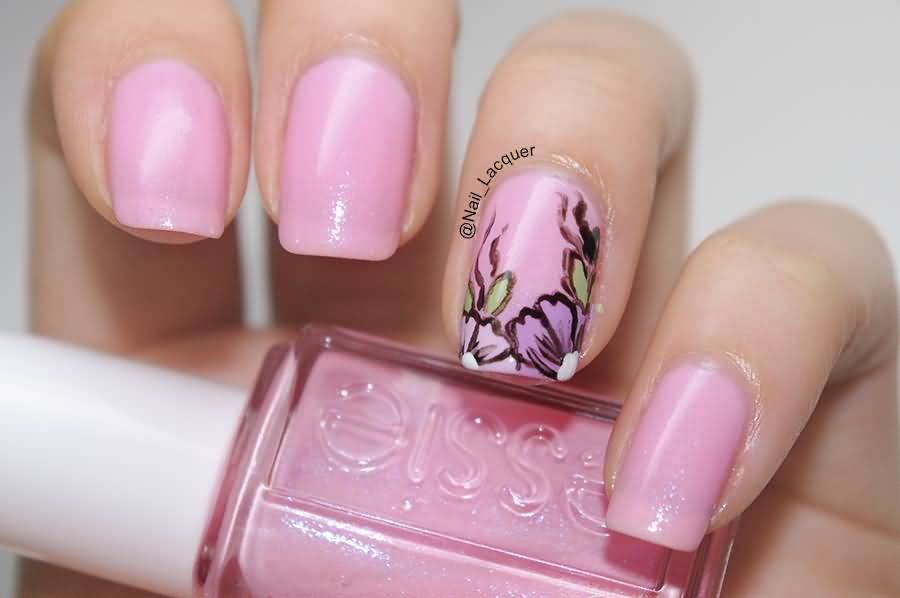 Beautiful Pink Flowers Nail Art Design
