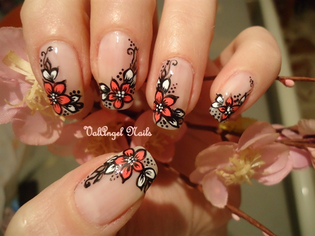 Pink And White Flower Nail Art For Nude Nails - 55 Most Beautiful Flowers Nail Art Design Ideas