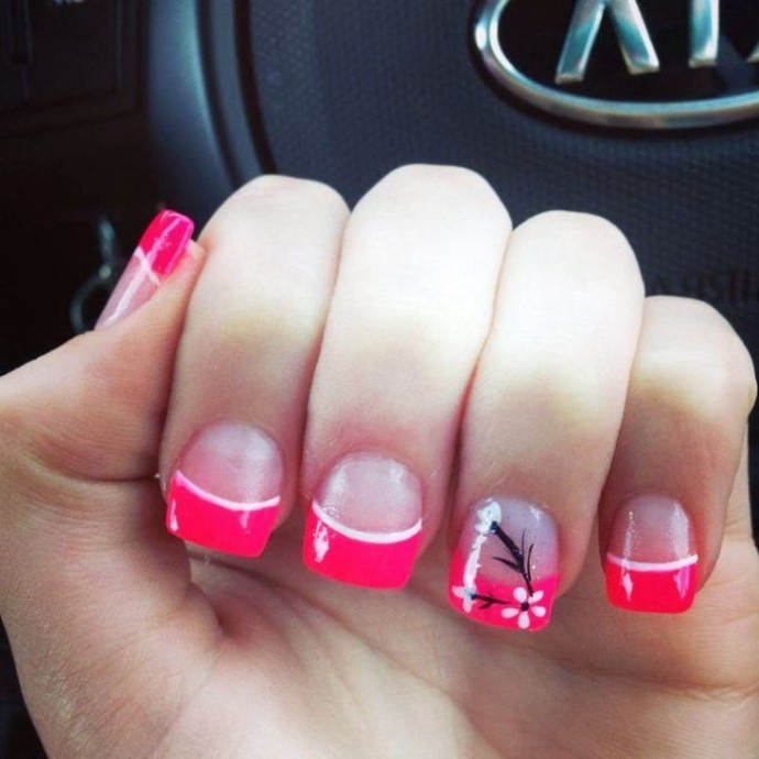 50 latest french tip nail art designs pink french tip nail design with accent flower prinsesfo Choice Image