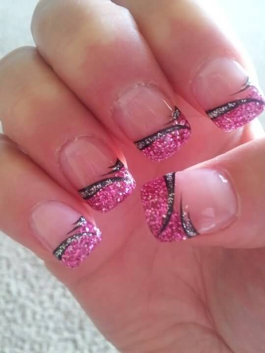 pink glitter french tip nail art - Nail Tip Designs Ideas