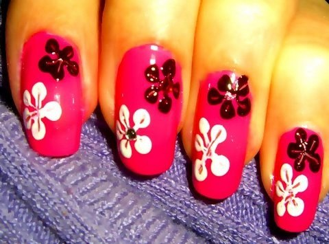 Pink nails with black and white acrylic flower nail art prinsesfo Images