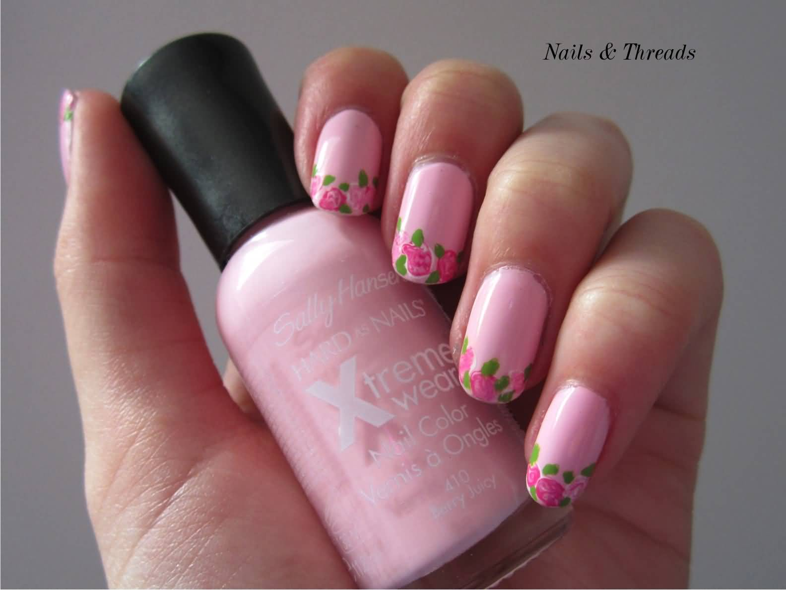 Colored french nail design - Pink Nails With Rose Flower French Tip Nail Art