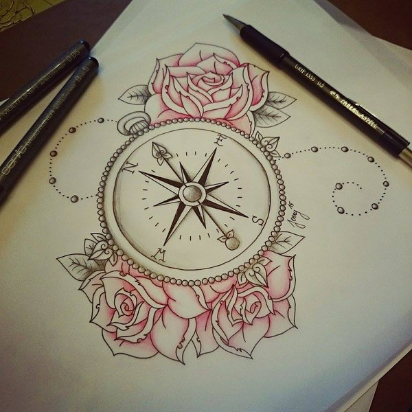Cool Compass With Star Fish And Flowers Tattoo On Girl Stomach