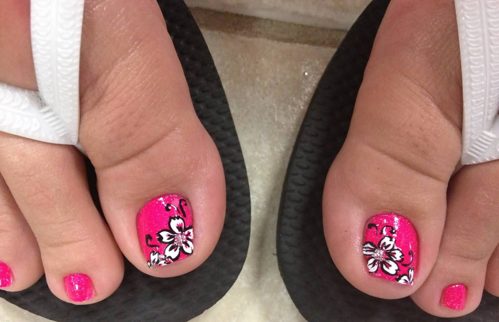 Pink Toe Nails With White Flower Nail Design
