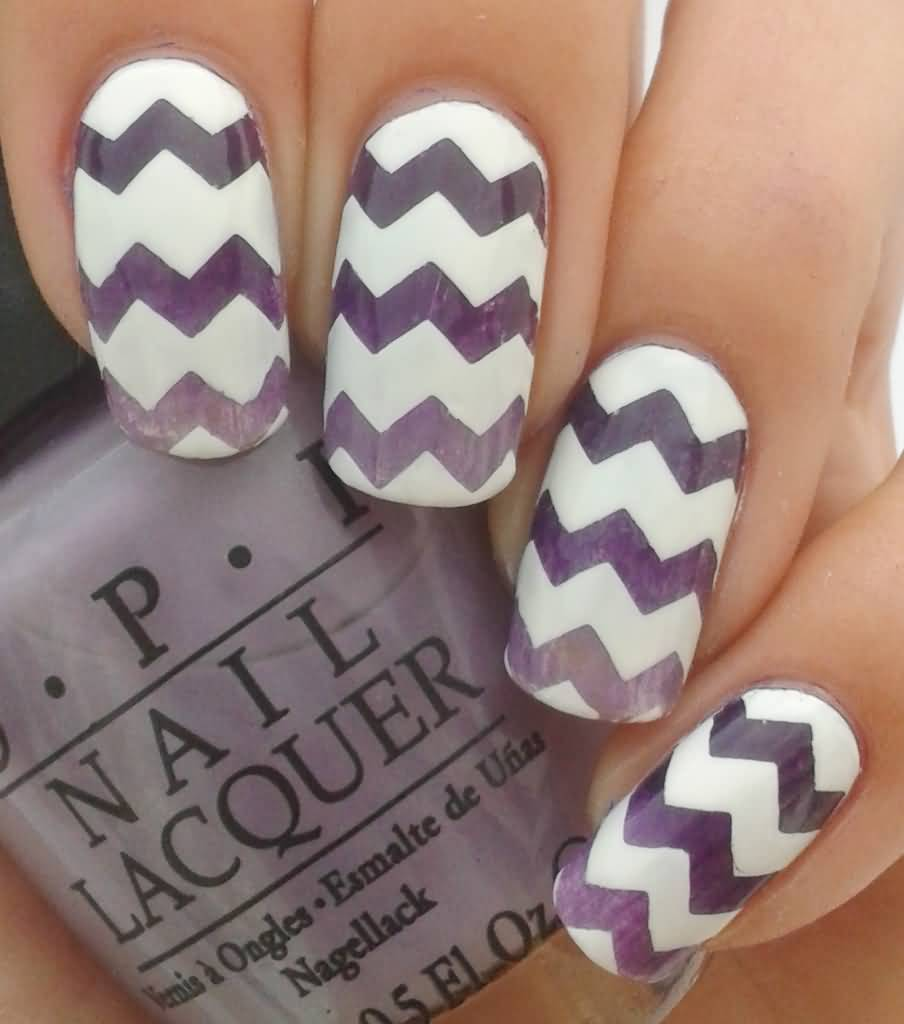 Purple Chevron Nail Art Design