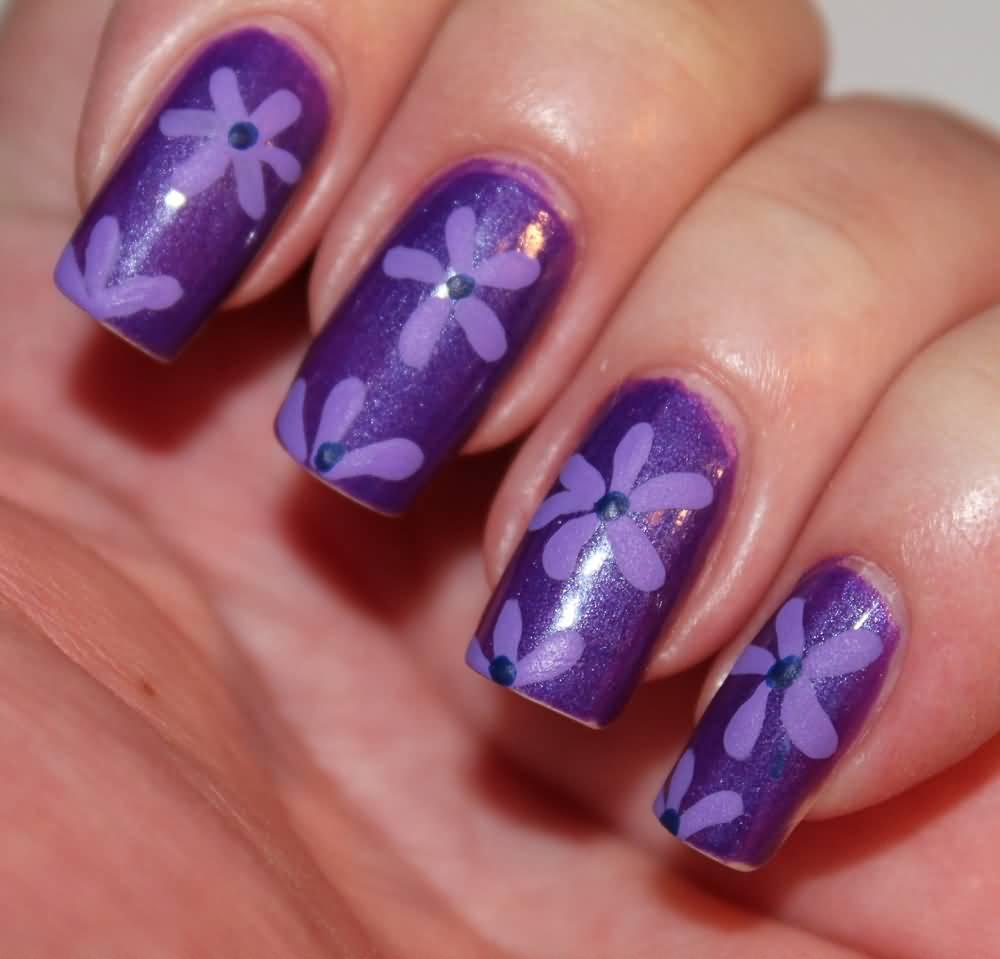 Nail art color violet - 30 Most Beautiful Orange And Purple Nail Art Designs