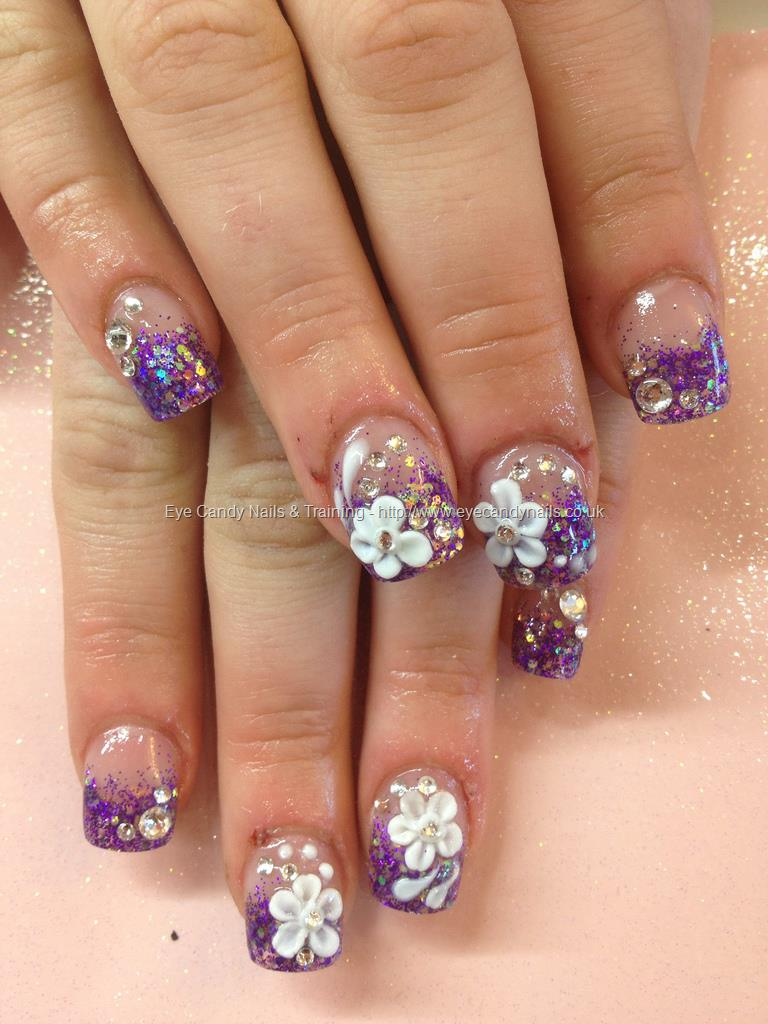 51 very beautiful 3d flowers nail art designs purple glitter french tip with white 3d flower nail art prinsesfo Gallery