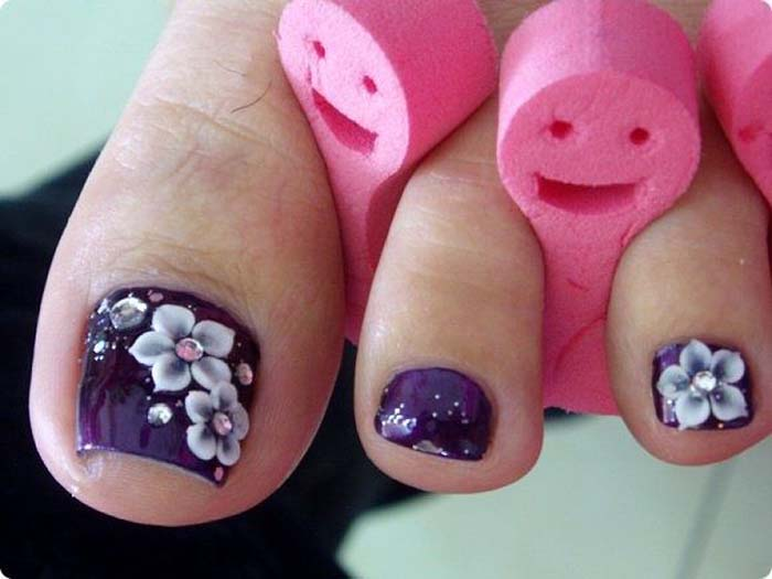 Purple Toe Nails With Cute White Flowers Nail Art