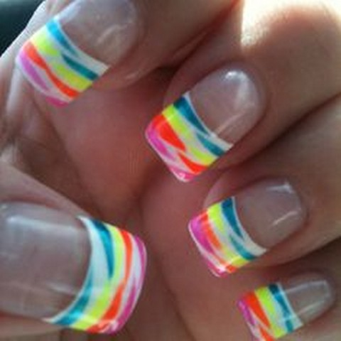 Rainbow Zebra Print French Tip Nail Art