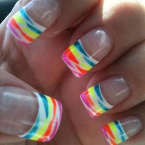 Rainbow Zebra Print French Tip Nail Art