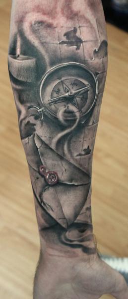 Forearm Compass Tattoo