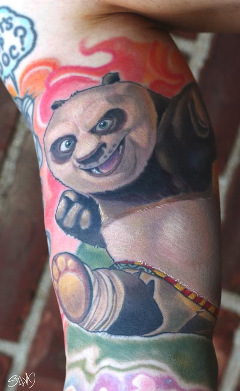 realistic kung fu panda tattoo on bicep by marvin silva. Black Bedroom Furniture Sets. Home Design Ideas