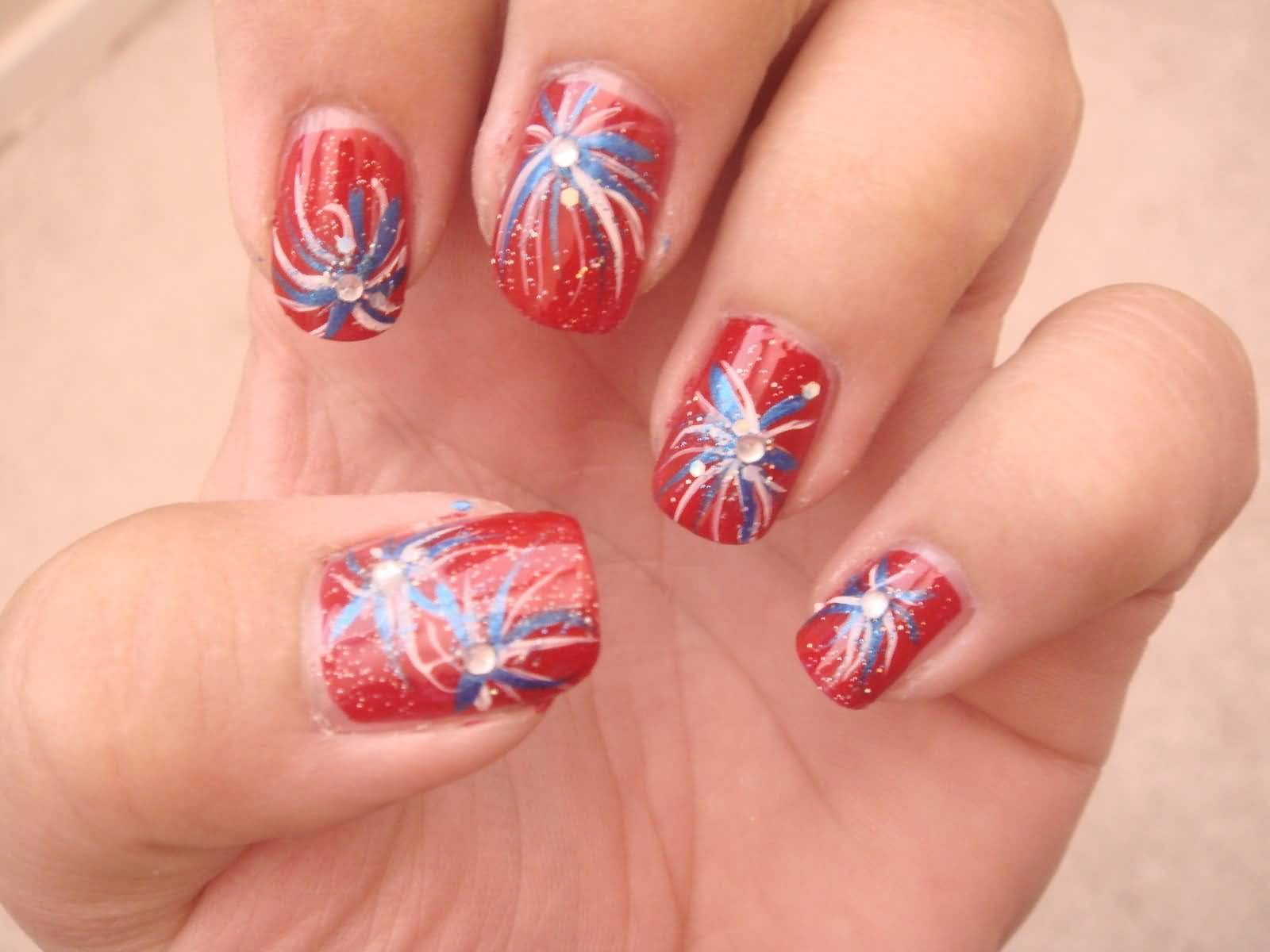 25+ Very Beautiful Fourth Of July Fireworks Nail Art Designs