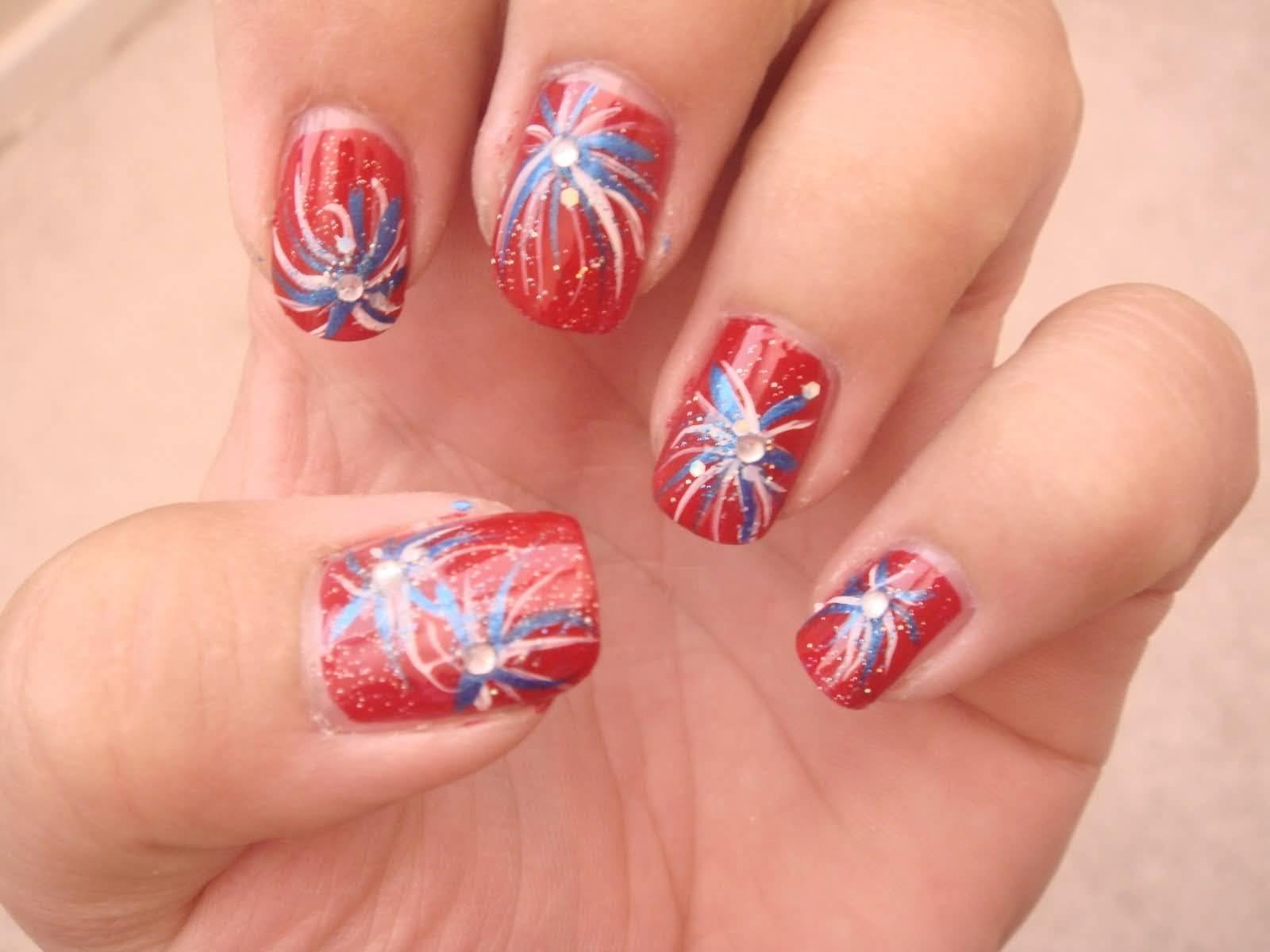 25 very beautiful fourth of july fireworks nail art designs red nails with fireworks fourth of july nail art prinsesfo Choice Image