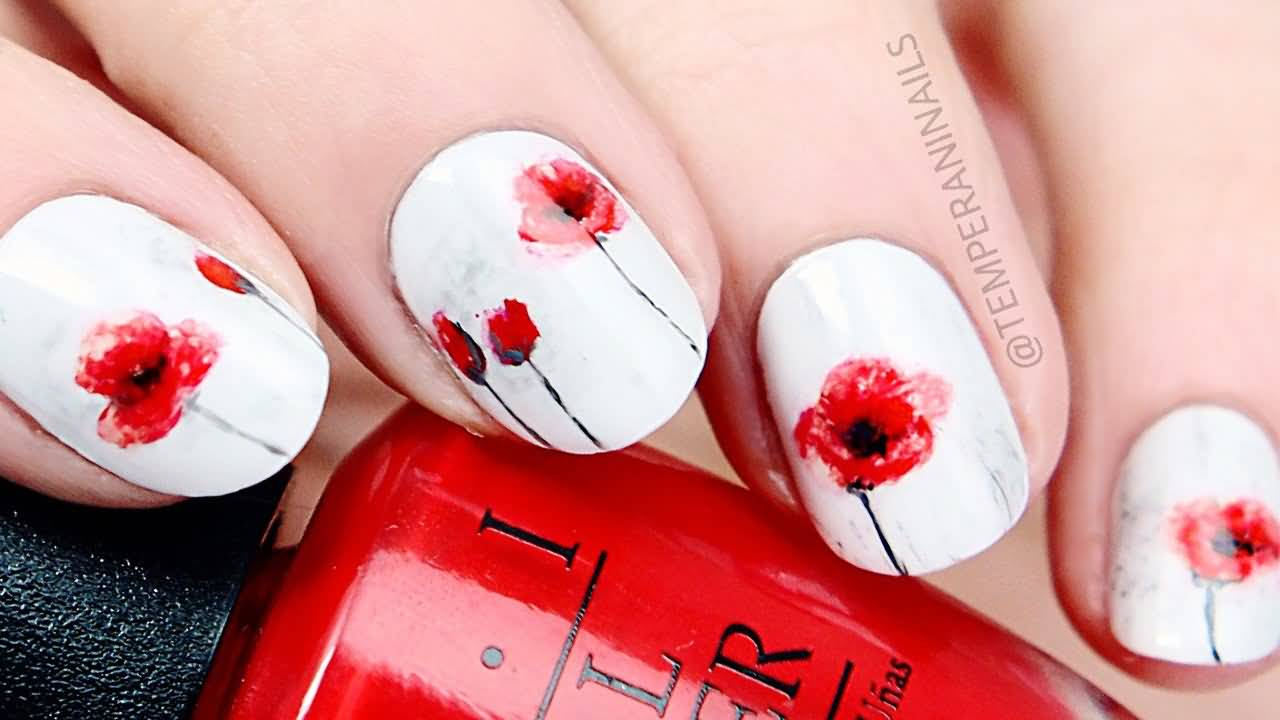 55 most beautiful flowers nail art design ideas red poppy flower nail art on white nails prinsesfo Choice Image