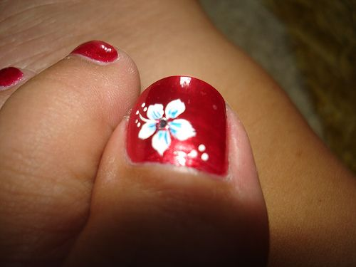 Nail Art Flowers Toes Toe Nail Flower Design Beauty