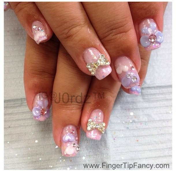 46 most beautiful 3d bow nail art ideas rhinestones 3d bow nail art prinsesfo Image collections