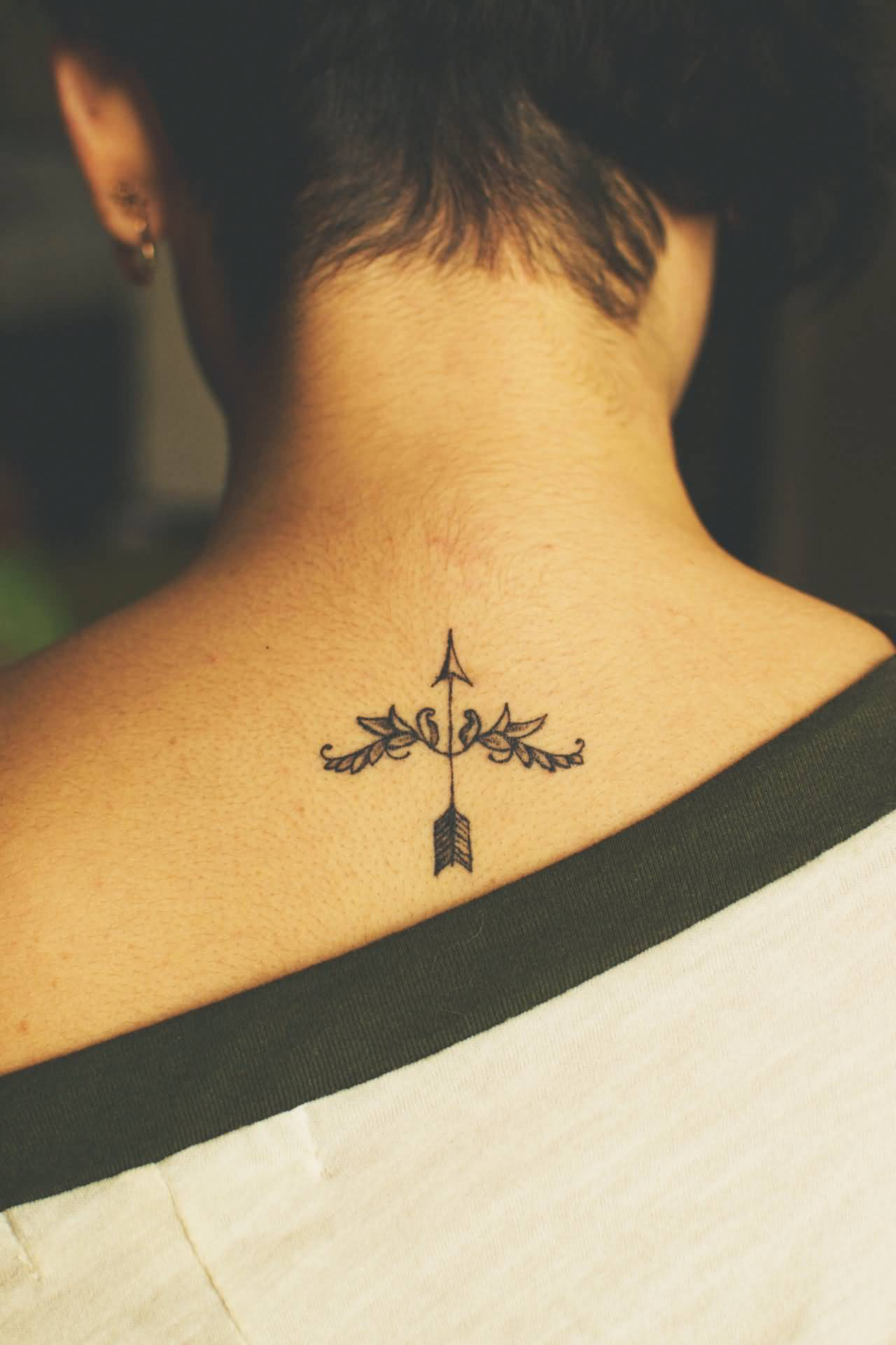 55fd43614ca2b Sagittarius Bow And Arrow tattoo On Nape