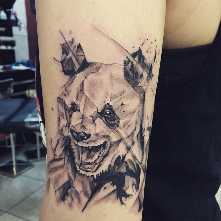 16 amazing half sleeve panda tattoos for Shattered glass tattoo
