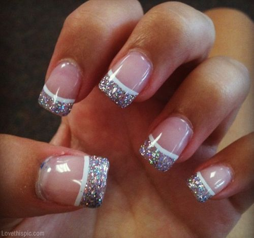 Silver French Tip Nail Art Glitter - 50 Most Beautiful Glitter French Tip Nail Art Design Ideas