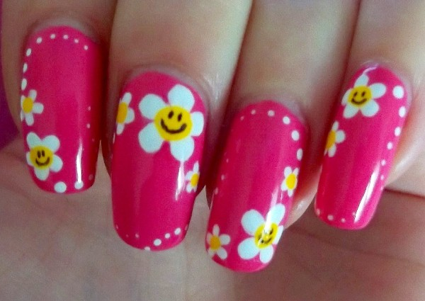 Simple Flower With Smileys Nail Art On Pink Nails - 55+ Most Stylish Flower Nail Art Design Ideas