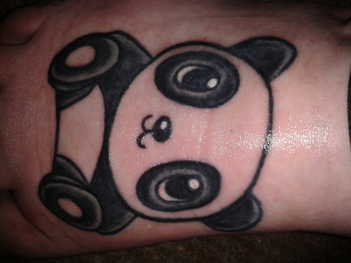Perfect baby panda with butterfly tattoo design for Baby panda tattoo