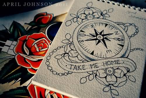 Compass Tattoo Line Drawing : Traditional compass tattoo design by johnson