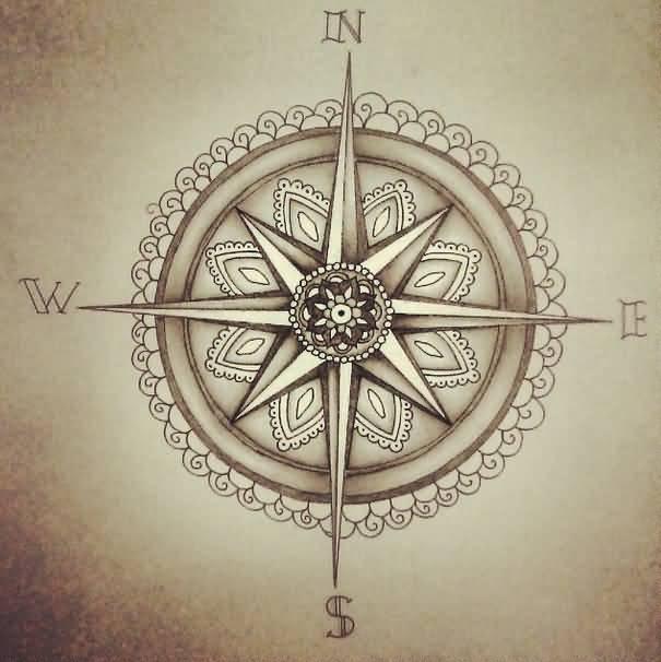 30 latest compass tattoo designs. Black Bedroom Furniture Sets. Home Design Ideas