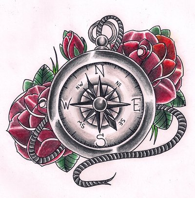 Traditional Red Roses And Compass Tattoo Design